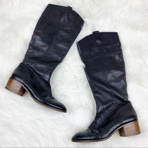 Louise et Cie Tall Leather Pull On Heeled Boots